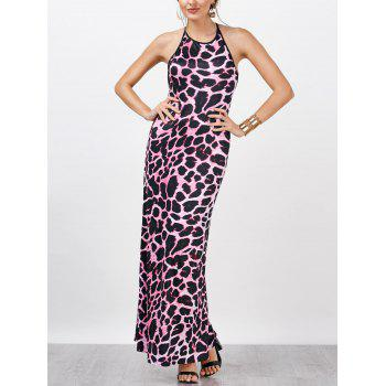 Leopard Print Open Back Halter Floor Length Dress
