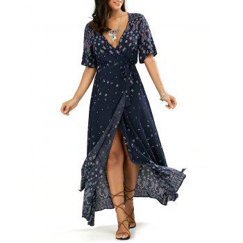 Paisley Print High Slit Maxi Beach Wrap Dress