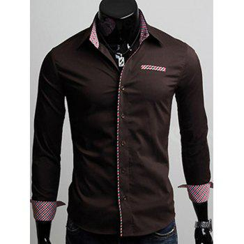Checked Panel Slimming Long Sleeve Shirt - COFFEE COFFEE
