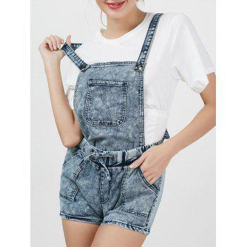 Bleach Wash Short Denim Romper