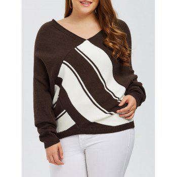 Plus Size V Neck Color Block Sweater