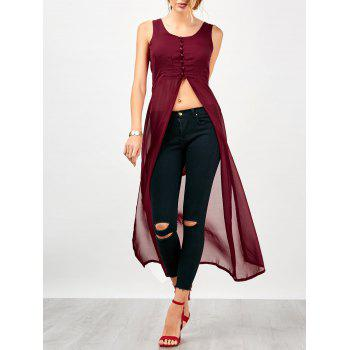 Slit U Neck Chiffon Long Top