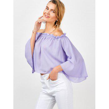 Flare Sleeve Ruffle Trim Chiffon Blouse - LIGHT PURPLE LIGHT PURPLE