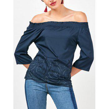 Off The Shoulder Ruffled Openwork Blouse - CADETBLUE M