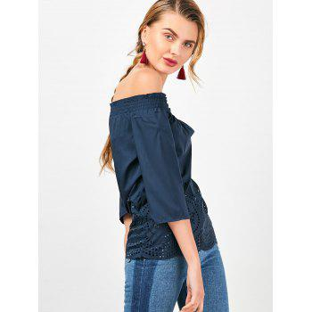 Off The Shoulder Ruffled Openwork Blouse - M M
