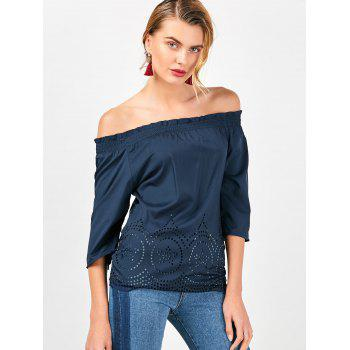Off The Shoulder Ruffled Openwork Blouse - CADETBLUE CADETBLUE