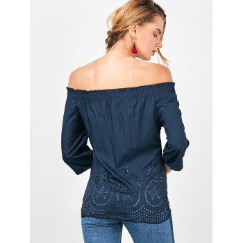 Off The Shoulder Ruffled Openwork Blouse - L L