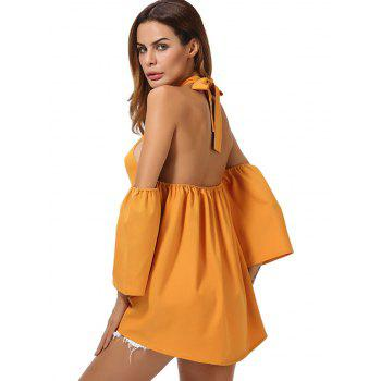 Cold Shoulder Backless High Low Top - DEEP YELLOW DEEP YELLOW