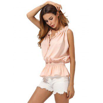 V Neck Chiffon Peplum Top - M M