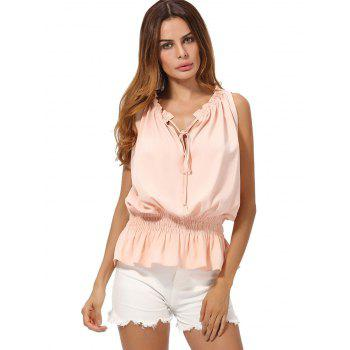 V Neck Chiffon Peplum Top - L L