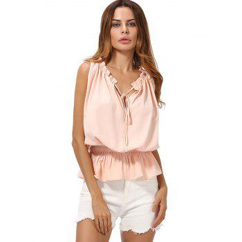 V Neck Chiffon Peplum Top - PINK 2XL