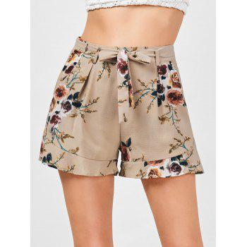 High Waisted Belted Floral Shorts