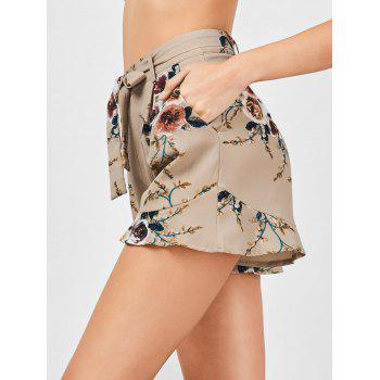 High Waisted Belted Floral Shorts - KHAKI L