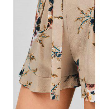 High Waisted Belted Floral Shorts - KHAKI XL