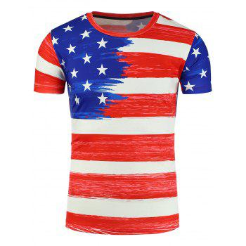 3D Painting The Stars and The Stripes Print Patriotic T-Shirt