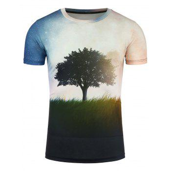 3D Tree and Galaxy Print Short Sleeve T-Shirt