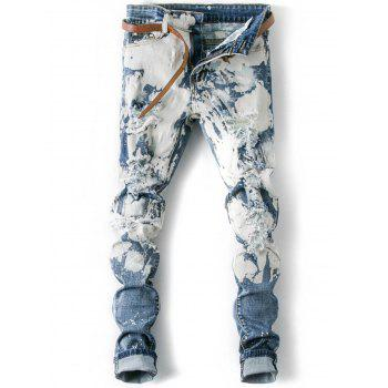 Splatter Paint Destroyed Zip Fly Jeans