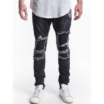 Ripped Patch Design Zip Fly Jeans