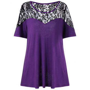 Plus Size Back Slit Lace Trim T-Shirt