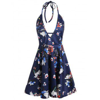 Backless Halter Plunging Neckline Floral Dress