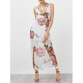 Floral Empire Waist Chiffon Surplice Dress