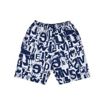 Loose Fitting Letter Print Board Shorts