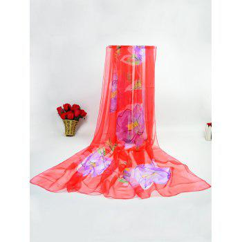 Showy Flowers Printing Ice Silk Gossamer Scarf