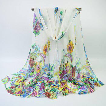 Chiffon Ethnic Multicolor Blooming Flowers Printing Scarf