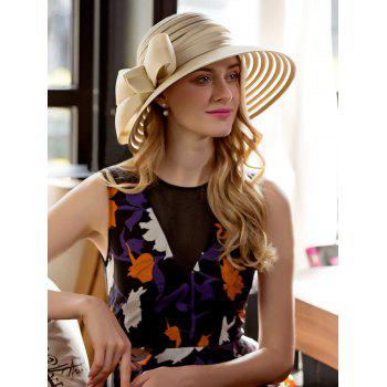 Striped Wide Ribbon Bowknot Organza Sun Hat