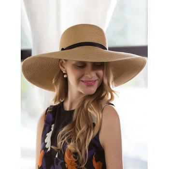 Pinstriped Oversize Brim Ribbon Bowknot Straw Hat