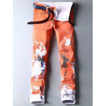 Colored Wash Paint Tapered Jeans