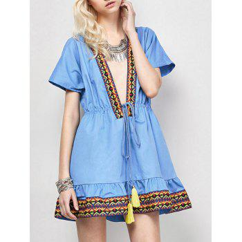 Plunging Neckl Mini Embroidered Dress