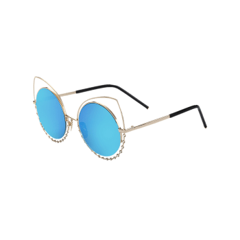 Hollow Out Cat Eye Rhinestone Mirror Sunglasses