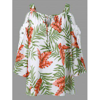 Lace Trim Cold Shoulder Hawaiian Blouse - COLORMIX XL