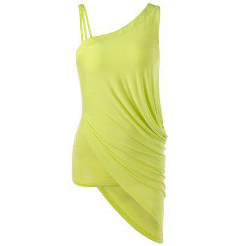 Skew Collar Ruched Asymmetric Tank Top