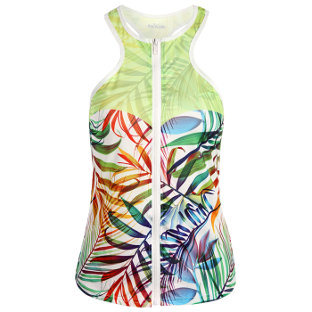 Novelty Zipper Design Racerback Sports Women's Tank Top - LIGHT GREEN L