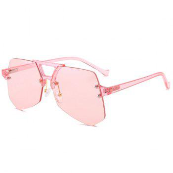 Hollow Out Crossbar Irregular Rimless Sunglasses