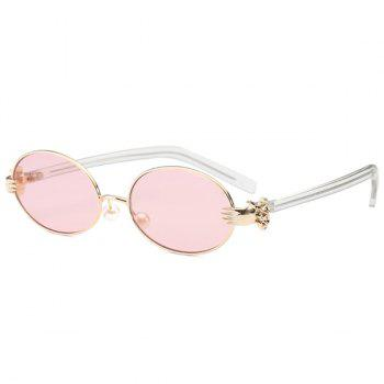 Faux Pearl Nose Pad Metallic Hand Oval Sunglasses