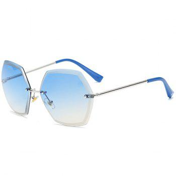 Gradient Color Polygon Rimless Street Snap Sunglasses