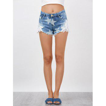 Lace Embellished Star Cut Off Jean Shorts