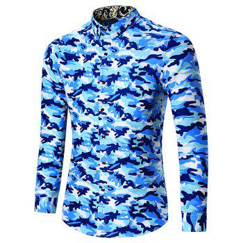 Long Sleeve Plus Size Camouflage Shirt