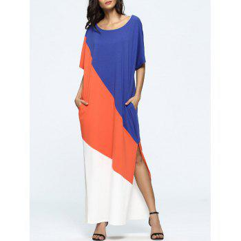 Oversized Color Block High Slit Maxi Dress