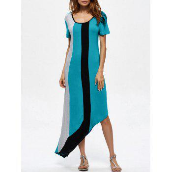 Asymmetrical Color Block Maxi Dress