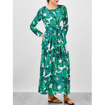 Palm Leaf Print Chiffon Floor Length Dress