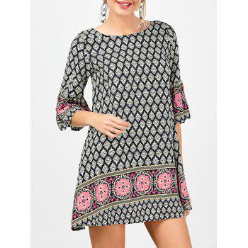Printed Criss-Cross Mini Bohemian Dress