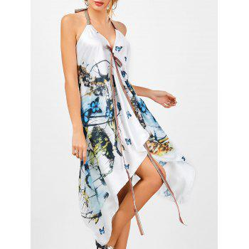 Halter Butterfly Print Handkerchief Dress