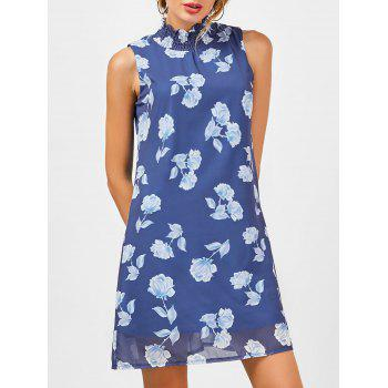 Floral A Line Chiffon Mock Neck Dress