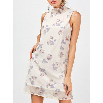 Mock Neck Floral Chiffon Petite Shift Dress