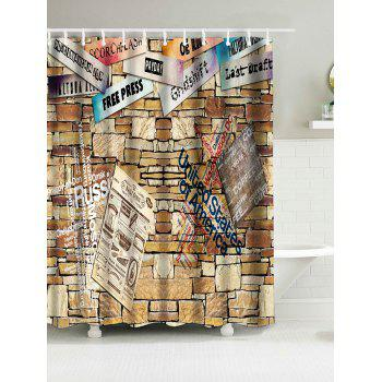 Brick Wall Print Bathroom Waterproof Shower Curtain