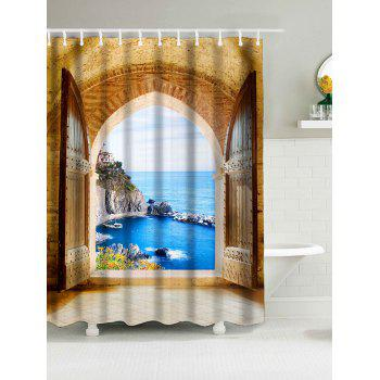 Waterproof Fabric Shower Curtain wtih Window Seaview Print